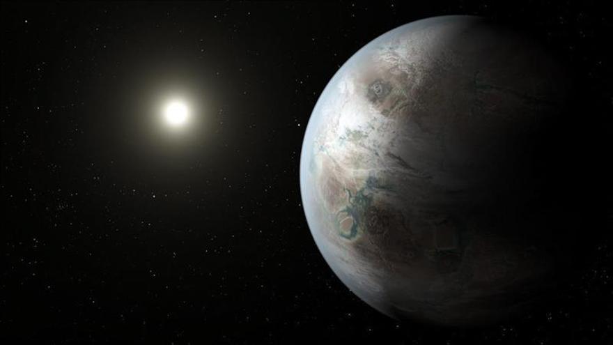 Fotografía cedida por la NASA que recrea el primer planeta en una zona habitable en la órbita de una estrella similar al Sol