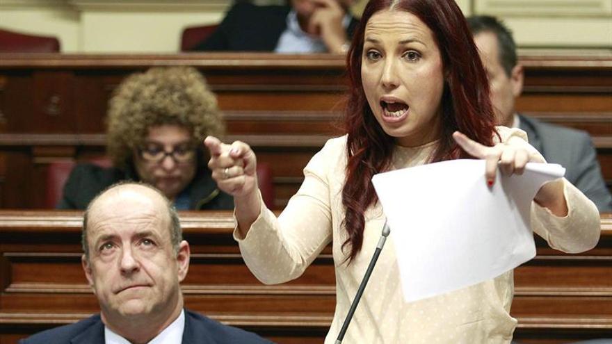 La vicepresidenta del Gobierno de Canarias, Patricia Herández, durante su intervencion ante el pleno del Parlamento de Canarias.
