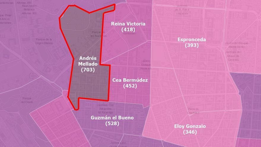 Andrés Mellado se queda como la zona con más Covid-19 de Madrid