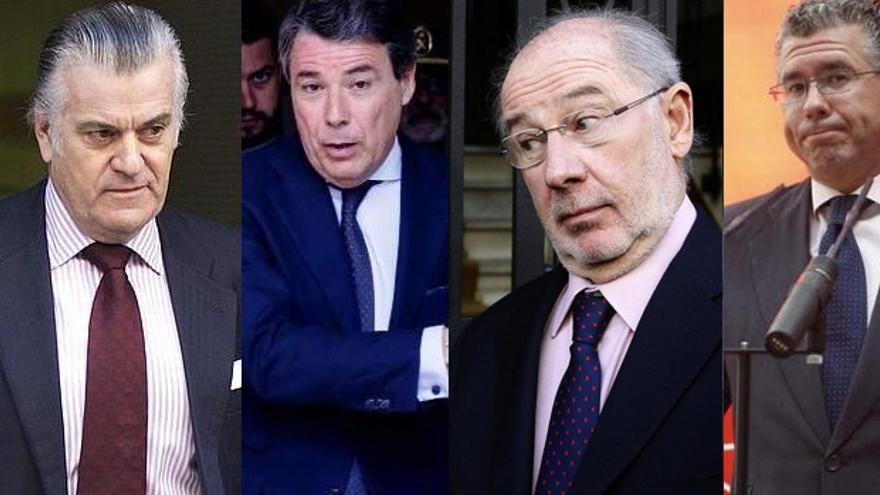 De izquierda a derecha: Bárcenas, Ignacio González, Rato y Granados