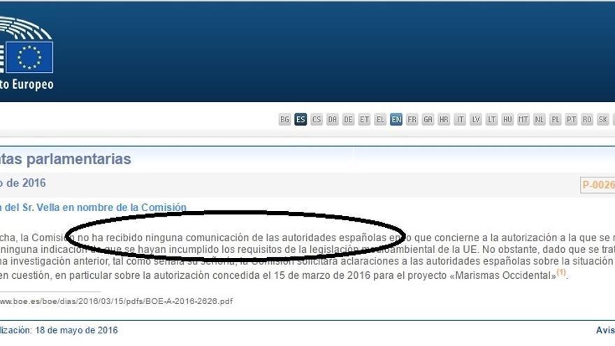 La última respuesta del comisario Vella a la pregunta de eurodiputada de IU Paloma López.