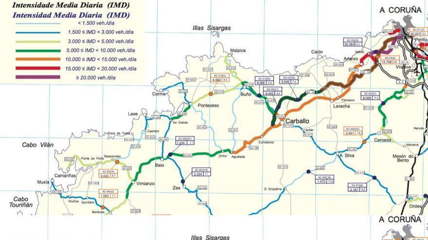 Tráfico en las carreteras de la Costa da Morte en 2015 y 2017, antes y después de la apertura de la autovía