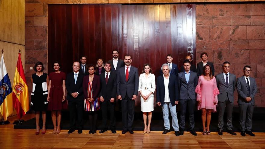 Los reyes se reunieron este martes con representantes del Clúster Audiovisual de Canarias.