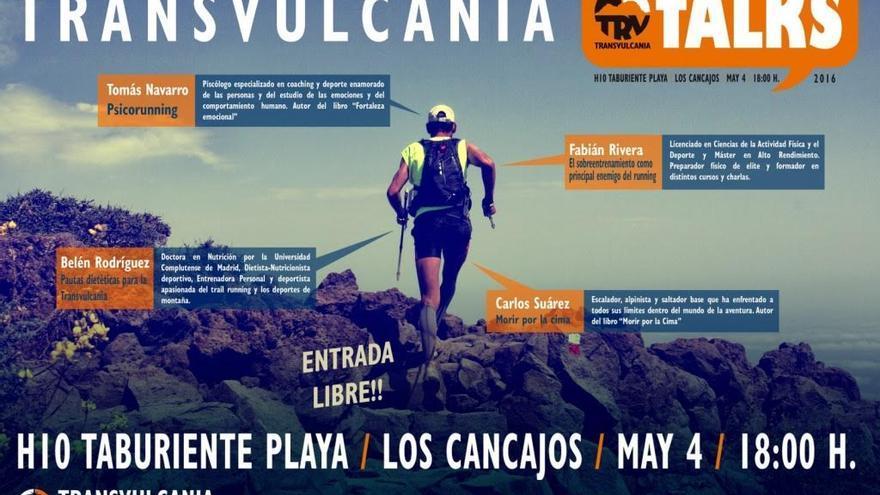 Cartel oficial de las Transvulcania Talks 2016.