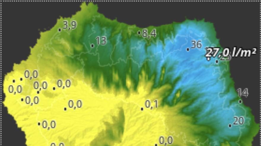 Mapa de HD Meteo La Palma de la lluvia caída, hasta las 08.40 horas de este lunes, 14 de octubre,  en diversos puntos de La Palma.