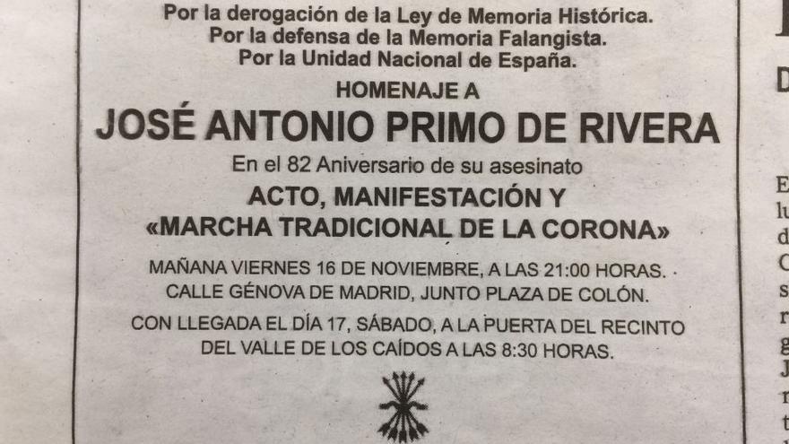 La esquela de José Antonio Primo de Rivera publicada en la edición del 15 de noviembre de 2018 del diario 'El Mundo'