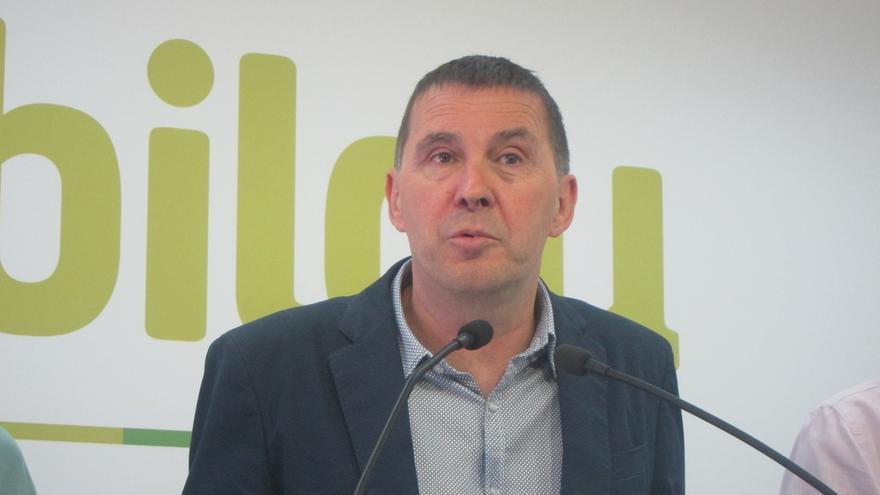 """Otegi descarta """"una solución"""" para Euskadi y Cataluña """"en términos de autonomía"""" y exige un trato de """"igual a igual"""""""