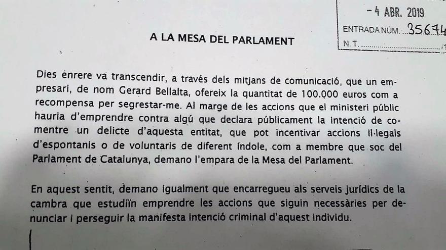 Puigdemont dice que un empresario ha ofrecido 100.000 euros por secuestrarlo y pide amparo al Parlament