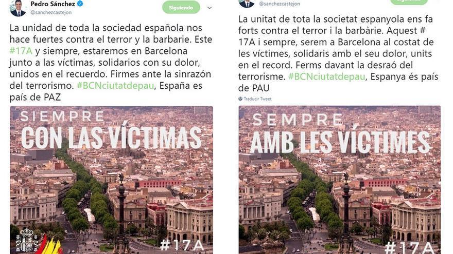 Imagen de los tuits difundidos por Pedro Sánchez.