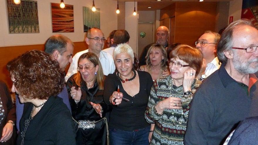 Teresa Carmona (en el centro) en una reunión de compañeros de Telesincro