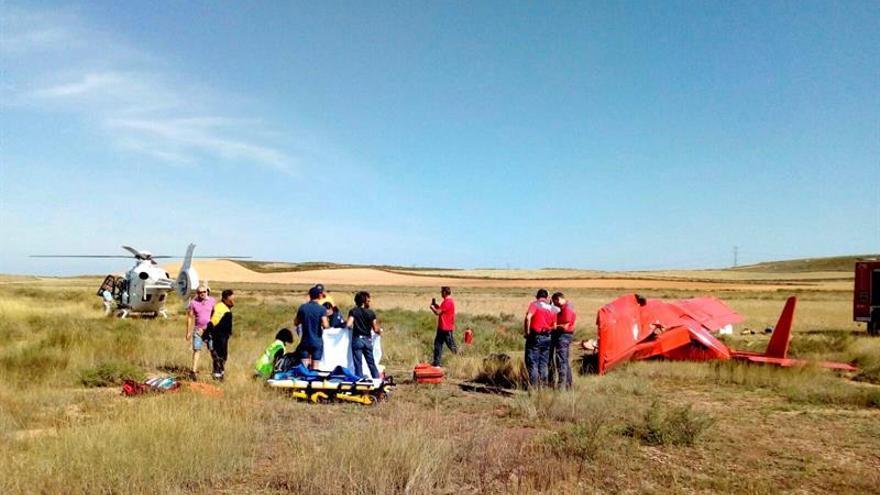 Un herido grave al caer una avioneta en un aeródromo de Tudela (Navarra)