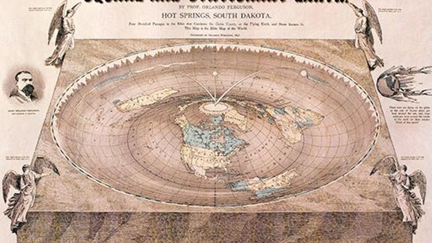 Representación terraplanista de La Tierra.