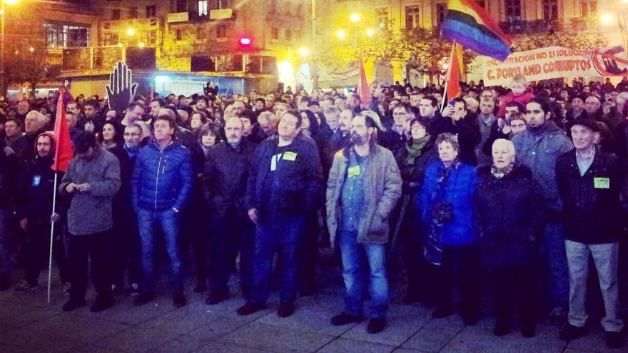 Una imagen cedida por Médicos del Mundo de la manifestación, en la plaza del Castillo.