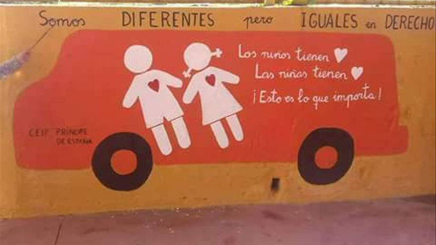 El mural creado por los niños del colegio onubense.