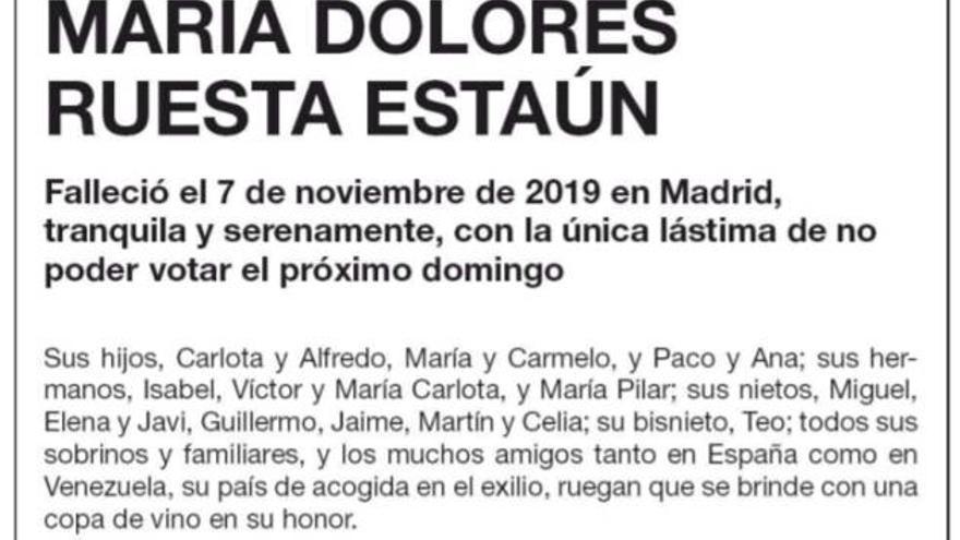 Esquela de María Dolores Ruesta publicada por El País