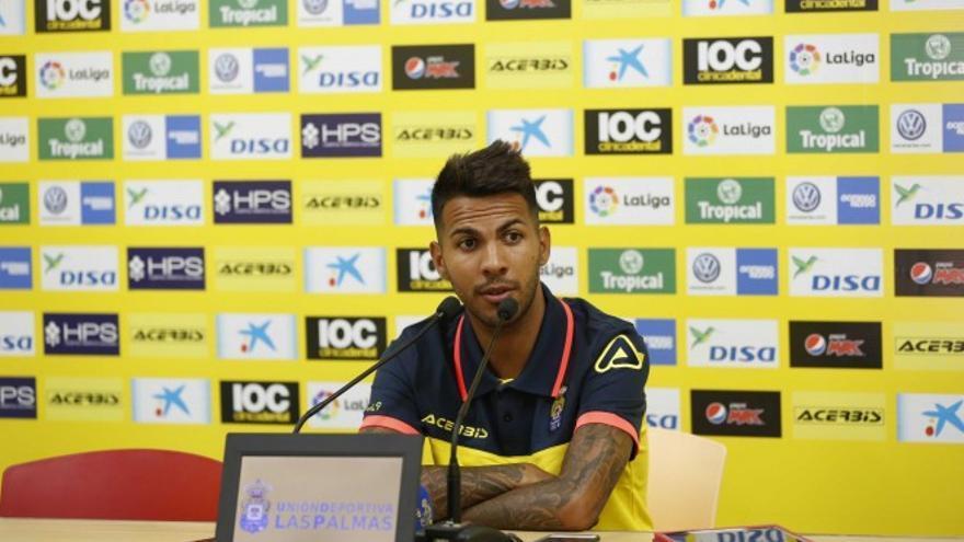 El jugador de la UD Las Palma, Jonathan Viera.