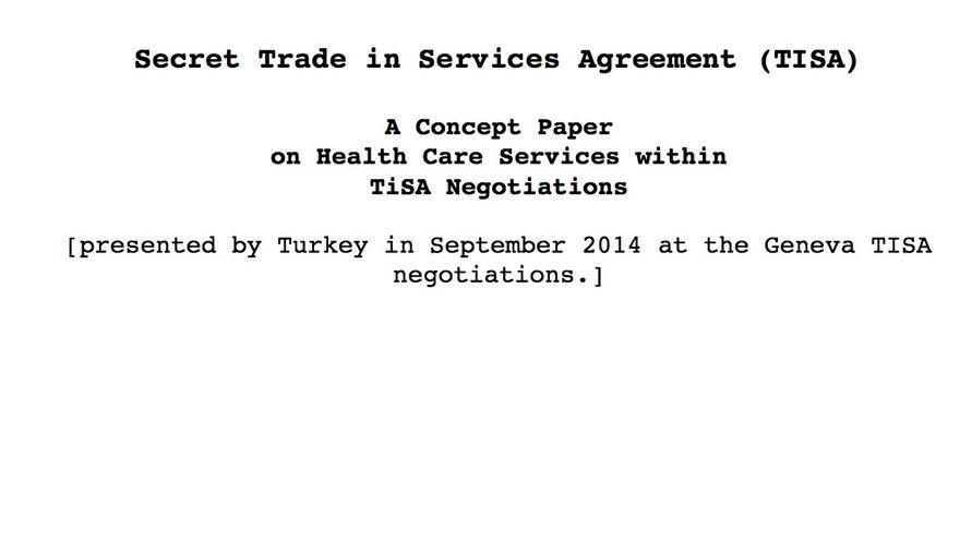 Portada del documento confidencial de las negociaciones del TISA al que ha tenido acceso eldiario.es.
