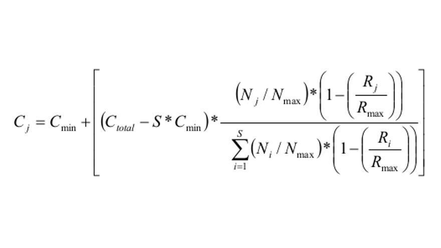 Fórmula mediante la que se reparte la cuantía variable de las becas generales del Ministerio de Educación