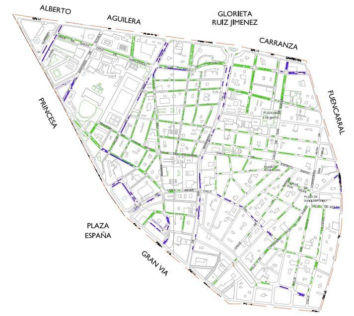 Plano de la zona SER de Malasaña (pincha para ampliar) | AYUNTAMIENTO DE MADRID