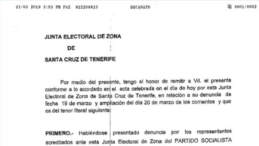 Resolución de la Junta Electoral de Zona en Santa Cruz de Tenerife