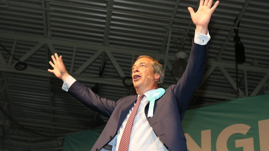 British politician and current leader of the Brexit Party, Nigel Farage attends a Brexit Party Rally at Olympia London...MAY 21st 2019.