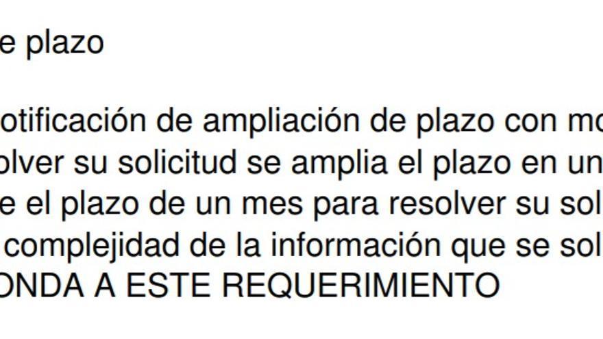Respuesta de Transparencia a la asociación San Cristobal el 27 de agosto.