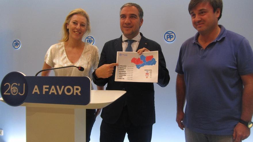 Carolina España, Elías Bendodo y Avelino Barrionuevo, en la sede del PP de Málaga