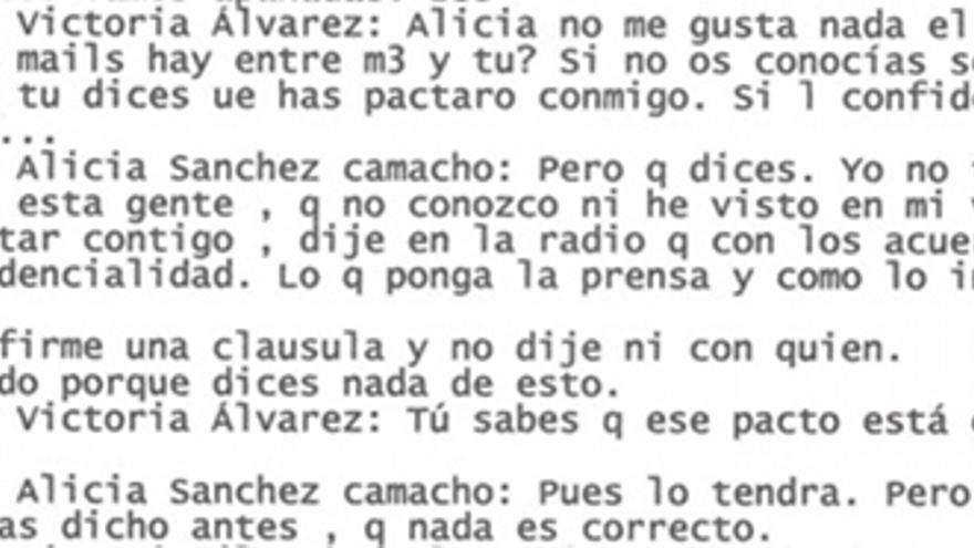 """""""Yo no he dicho nada de pactar contigo"""", sostiene Sánchez-Camacho en otro SMS."""
