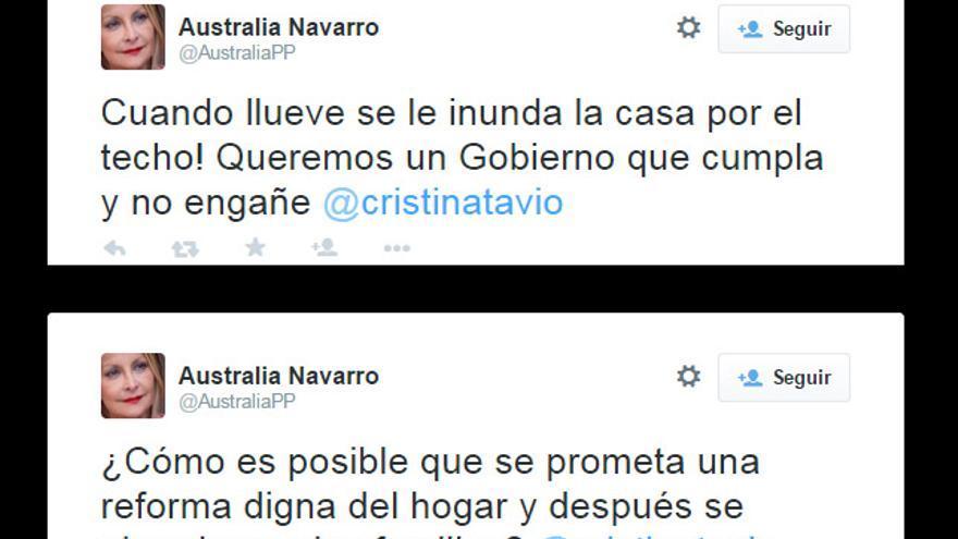 Comentarios publicados por la candidata del PP al Gobierno canario, Australia Navarro, a través de Twitter.