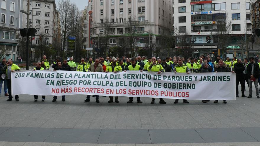 Manifestación de los trabajadores de Parques y Jardines de Santander. | USO
