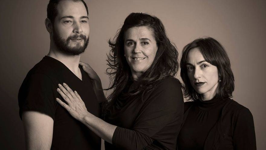 "Elenco de ""Neva"": Jesús Arribas -Risi-, Lola Martínez e Irene Verdú Soriano, de izqda a dcha."