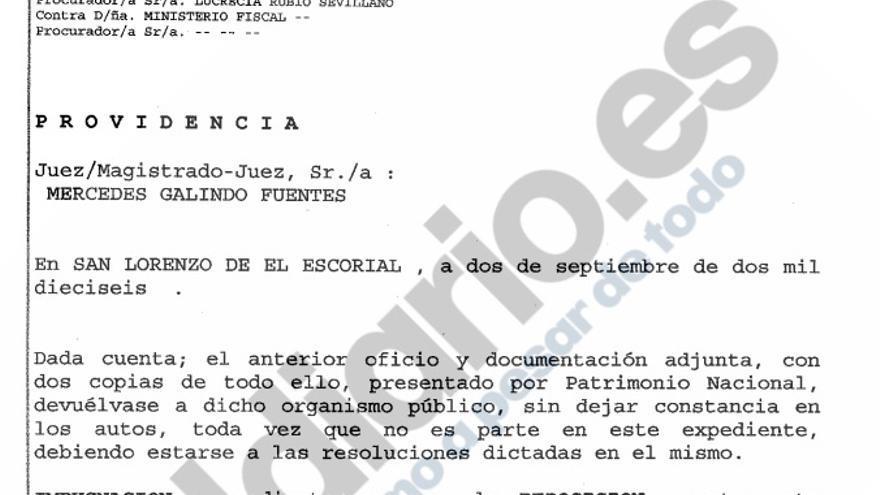 La providencia que rechaza la documentación aportada por Patrimonio sobre el Valle de los Caídos