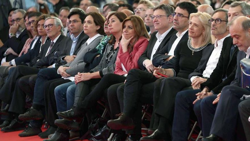 Los tres candidatos del PSOE coinciden en el acto de homenaje a Carme Chacón
