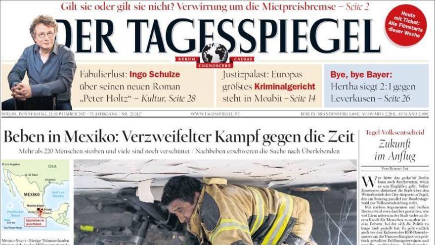 Portada del 21/09/2017 del diario alemán Der Tagesspiegel