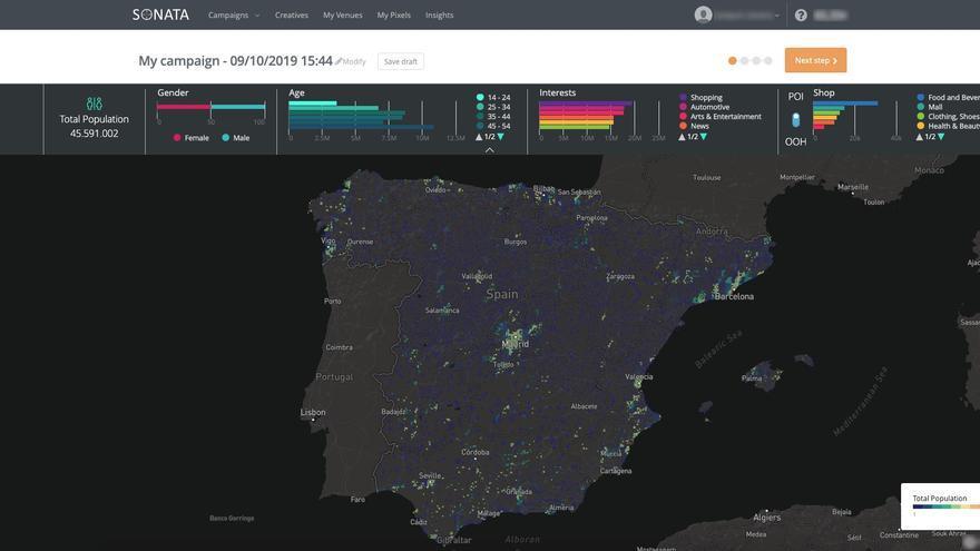 Imagen de España de Sonata, la plataforma tecnológica de TapTap para segmentar el mercado de la publicidad digital.