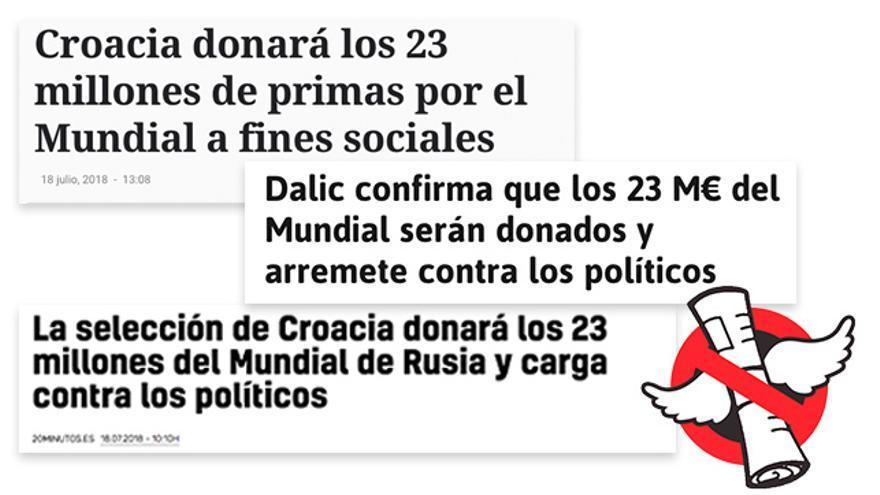 El seleccionador croata no ha escrito una carta afirmando que donarán el premio económico del Mundial.