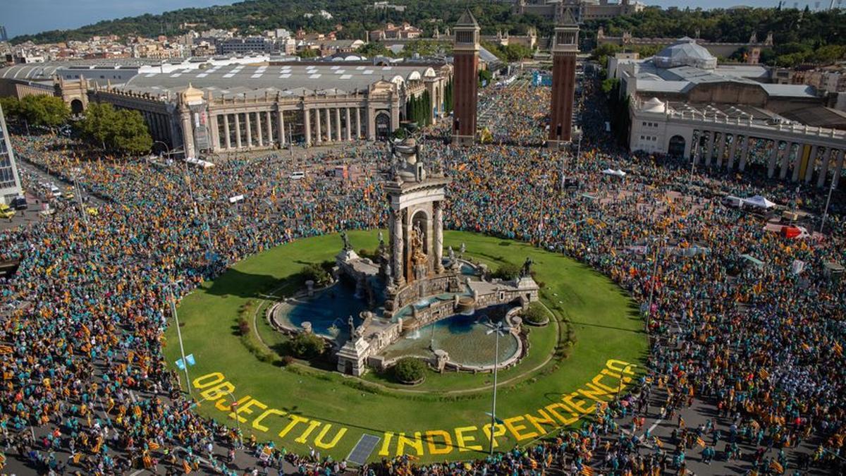 Imagen de la última Diada, en Plaza España de Barcelona