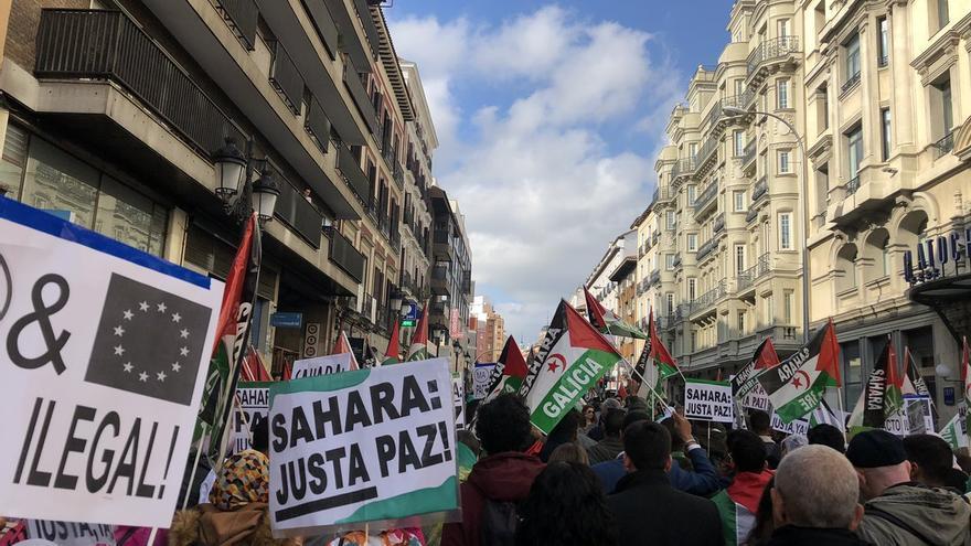 Manifestación a favor de la autodeterminación del Sáhara Occidental