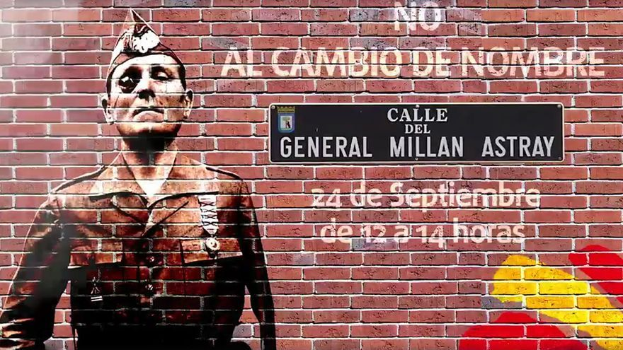 Concentración convocada en septiembre de 2016 para que la calle Millán Astray mantenga su nombre franquista.
