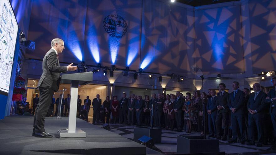 El lehendakari, Iñigo Urkullu, en la recepción navideña a la sociedad vasca