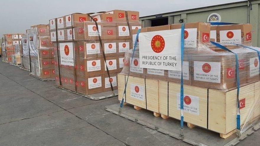 Cargamento de material sanitario procedente de Turquía, esta semana en un aeropuerto español