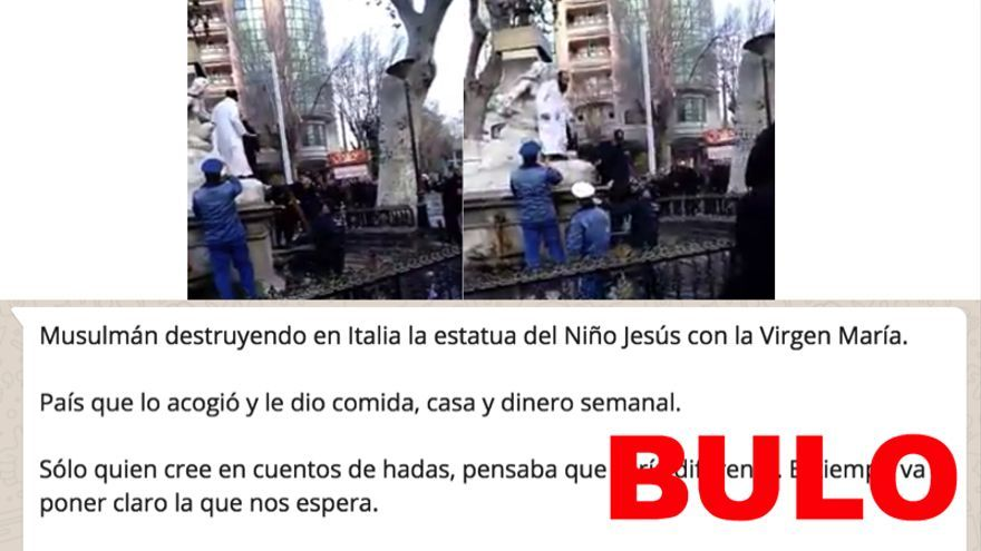 No, este vídeo no es la destrucción de una estatua del niño y la virgen en Italia a manos de un musulmán acogido