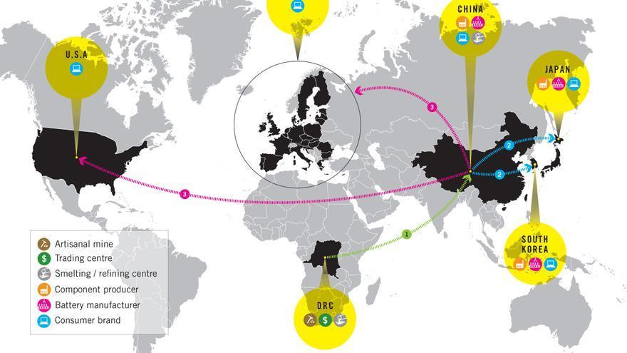 El movimiento del cobalto por el mundo | Infografía: Amnistía Internacional