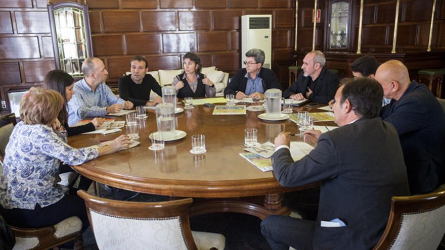 Reunión mantenida esta mañana en el Ayuntamiento de Zaragoza.