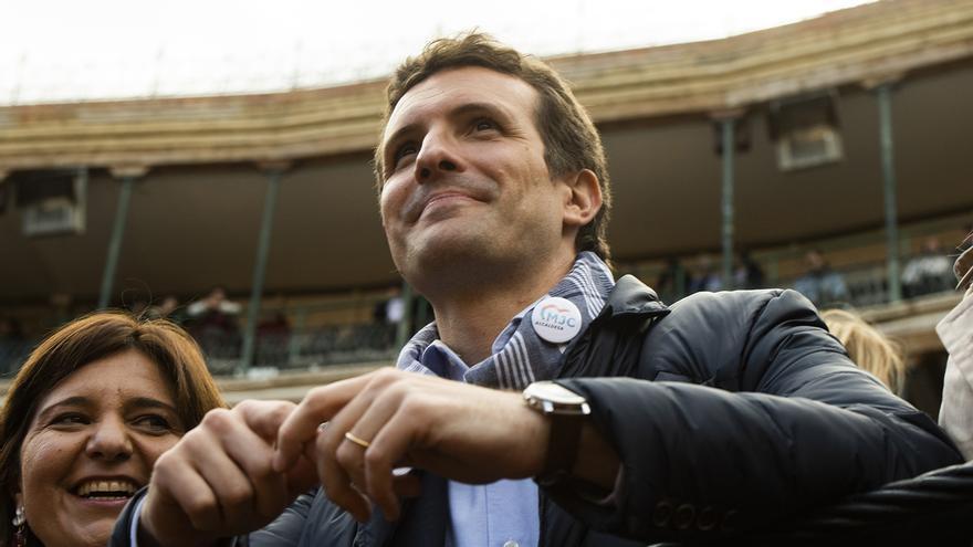 El líder del PP, Pablo Casado, el martes, durante su visita a Valencia.