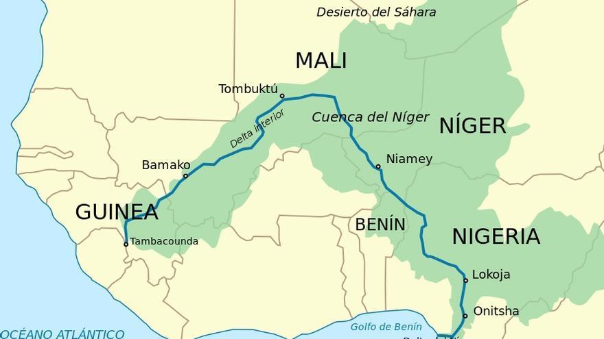 Mapa de la cuenca del río Níger. Wikipedia.