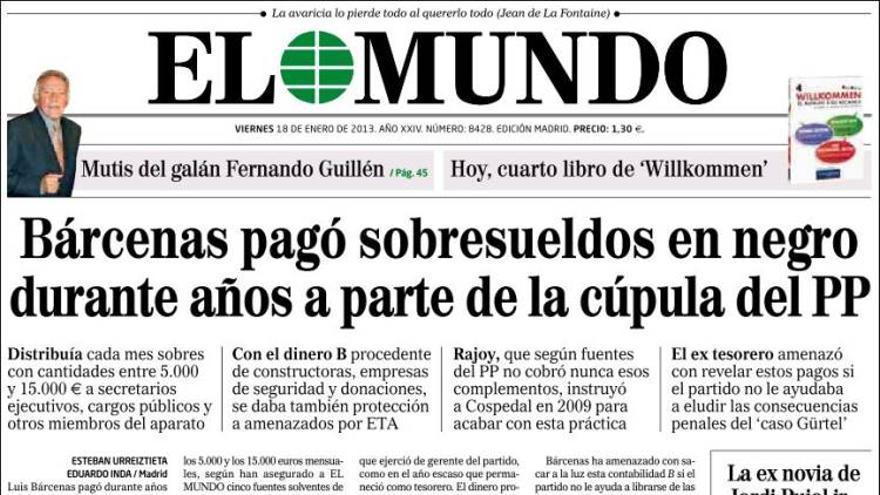 Portada El Mundo (18/enero/2013)