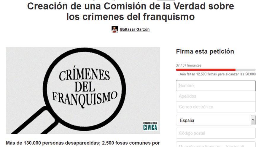 Captura de pantalla de la petición realizada por Baltasar Garzón a través de Change.org.