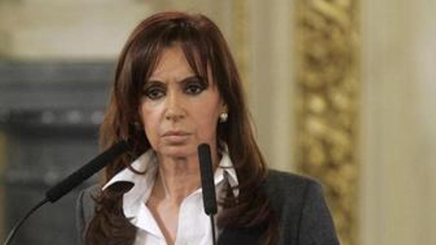 Cristina Fernández en una rueda de prensa