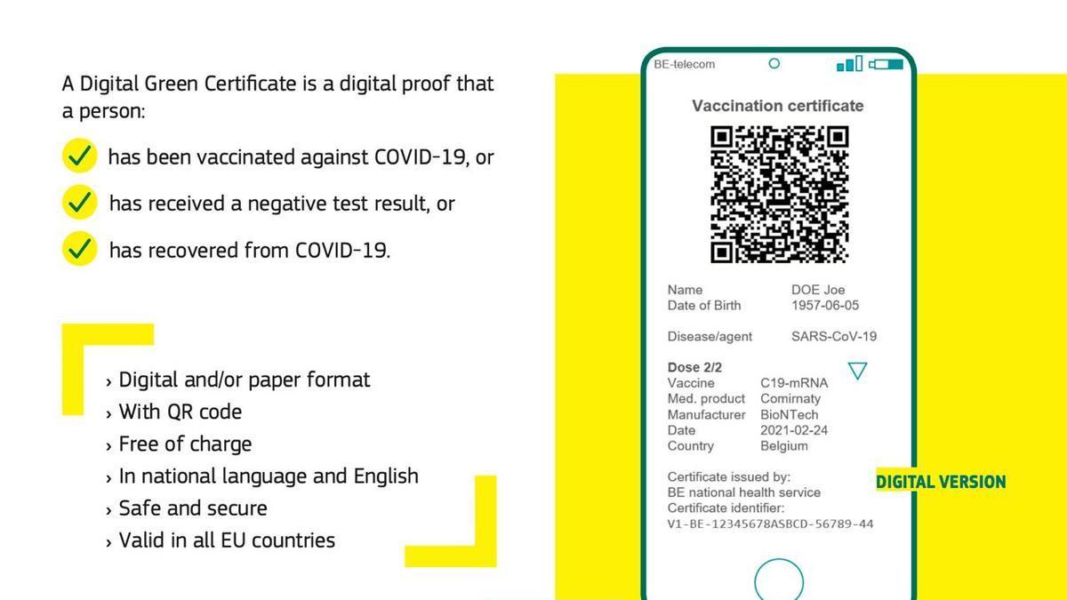 Imagen del certificado digital que plantea la Comisión Europea para turistas inmuzados frente a la COVID-19